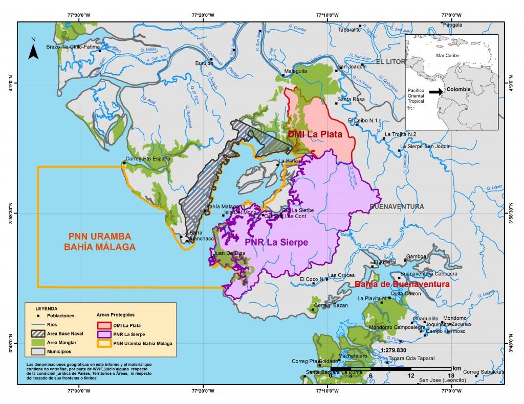 Mapa de Areas Protegidas de Bahía Málaga La Plata