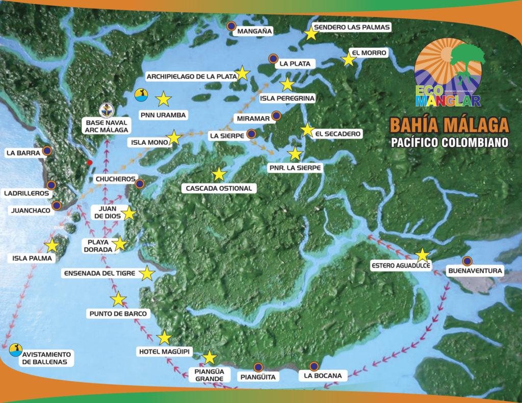 Mapa geografico de Bahia Malaga con indicadores